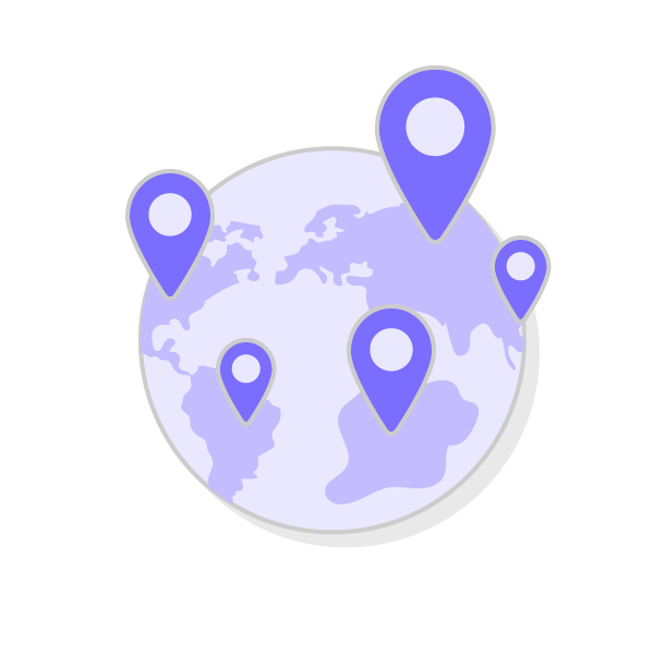 world map with location icons