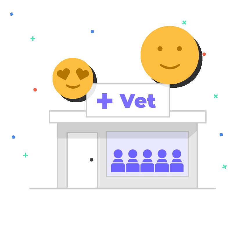 vet clinic with happy emoji