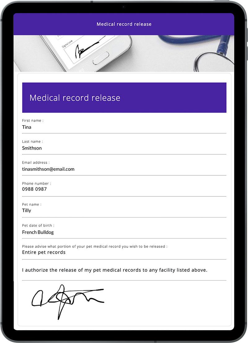 ipad with VetCheck digital form