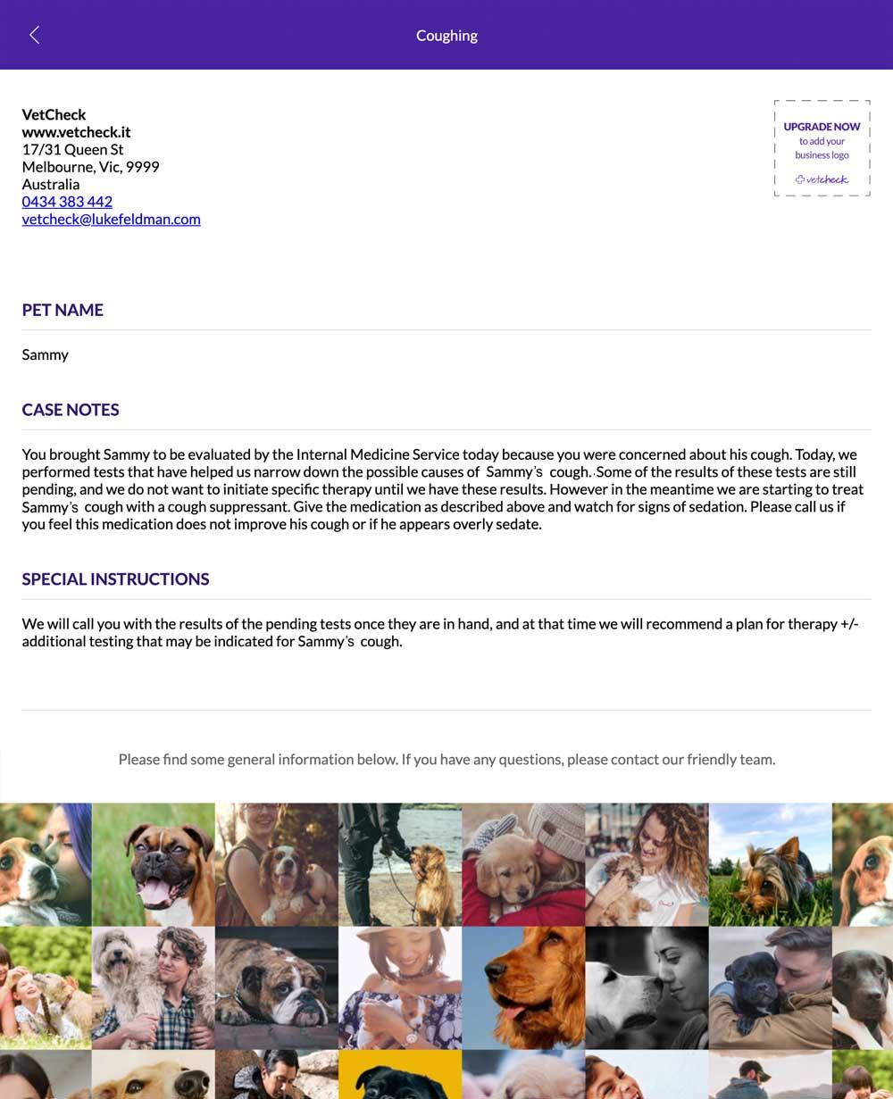 VetCheck screenshot report