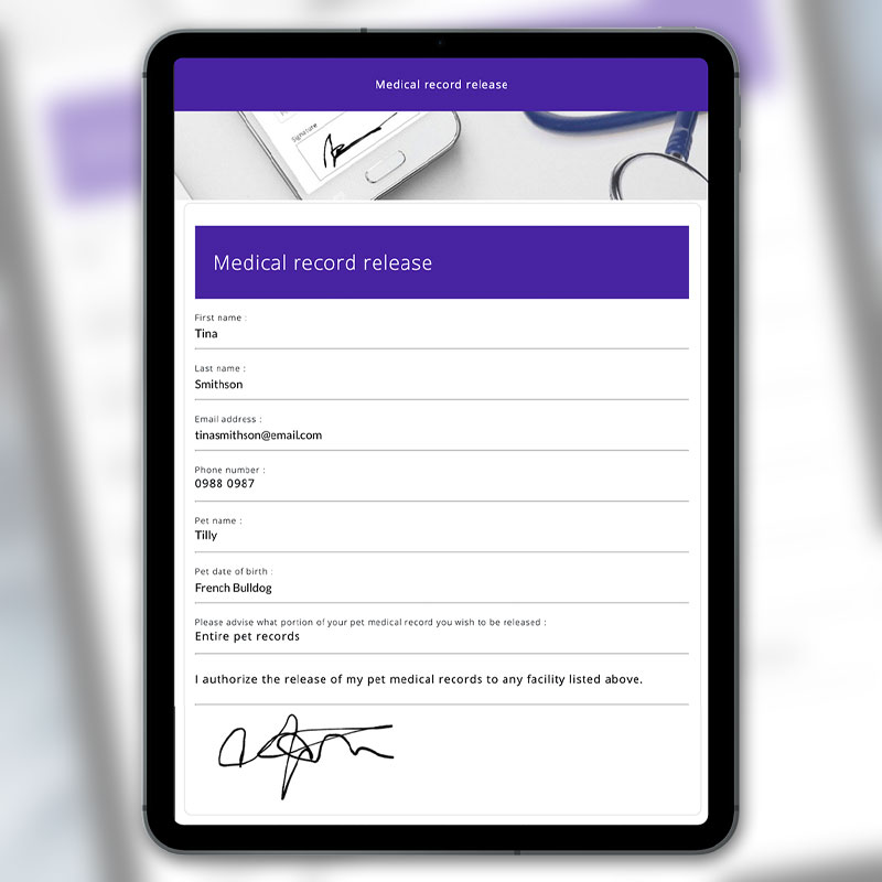 VetCheck Medical Record Release Form with E-signature